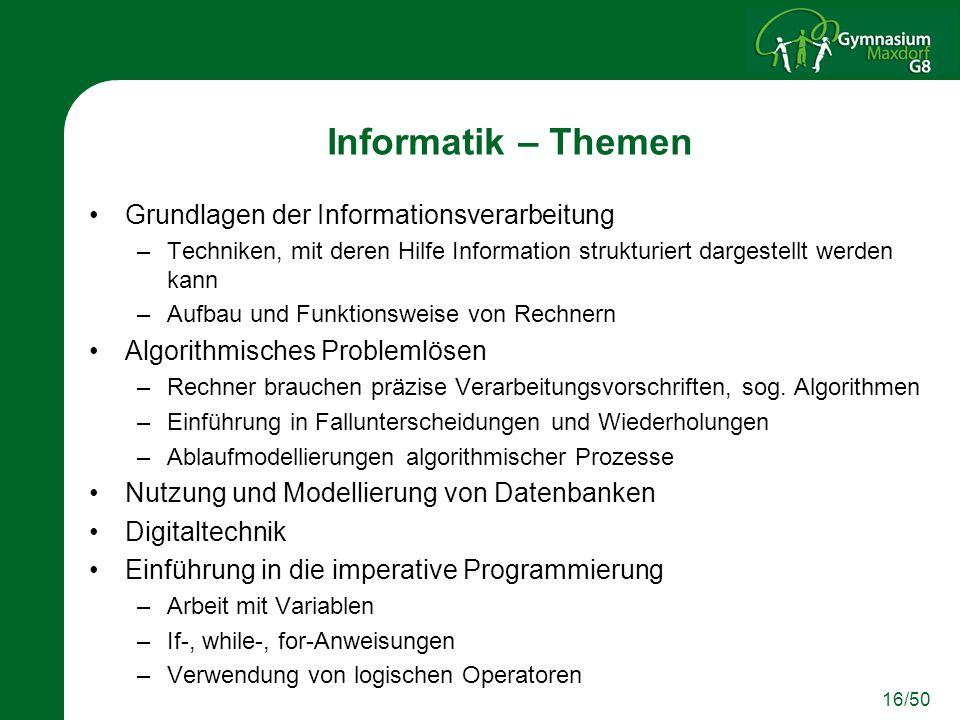 Informatik – Themen Grundlagen der Informationsverarbeitung