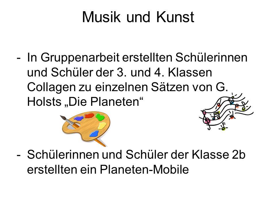 """Musik und Kunst In Gruppenarbeit erstellten Schülerinnen und Schüler der 3. und 4. Klassen Collagen zu einzelnen Sätzen von G. Holsts """"Die Planeten"""