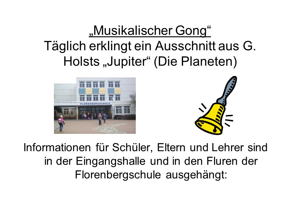 """Musikalischer Gong Täglich erklingt ein Ausschnitt aus G"