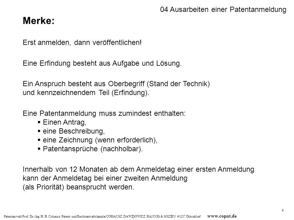 Merke: 04 Ausarbeiten einer Patentanmeldung