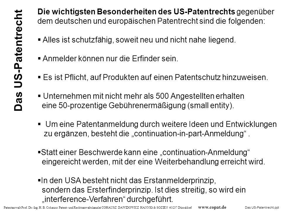 Die wichtigsten Besonderheiten des US-Patentrechts gegenüber