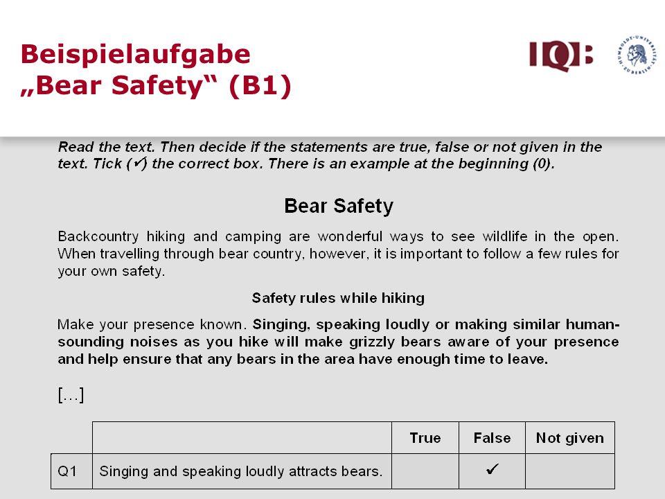 "Beispielaufgabe ""Bear Safety (B1)"