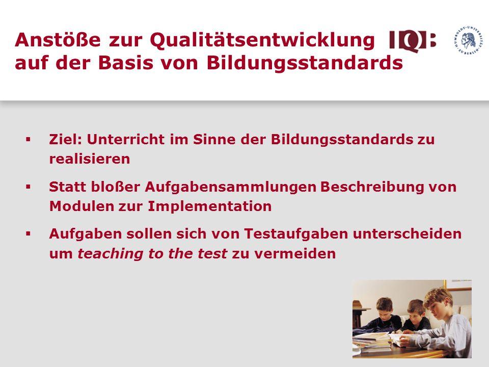 Anstöße zur Qualitätsentwicklung auf der Basis von Bildungsstandards