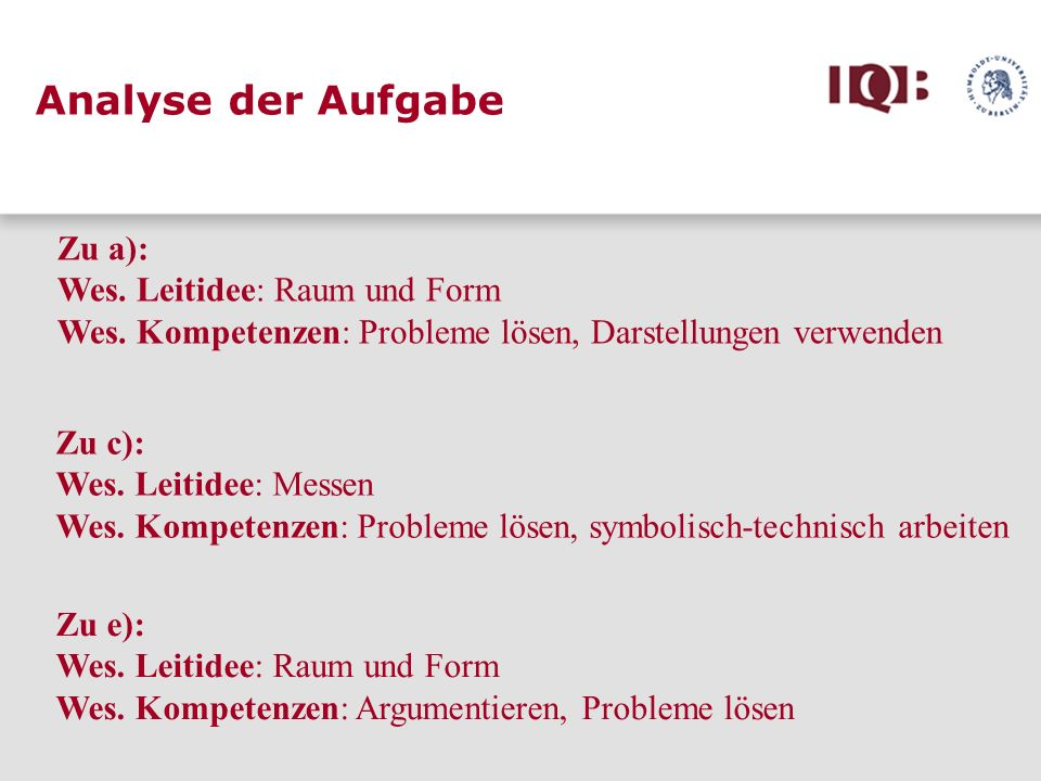 Analyse der Aufgabe Zu a): Wes. Leitidee: Raum und Form