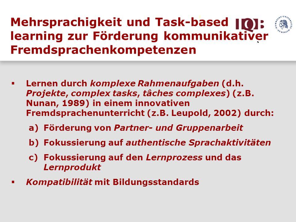 Mehrsprachigkeit und Task-based learning zur Förderung kommunikativer