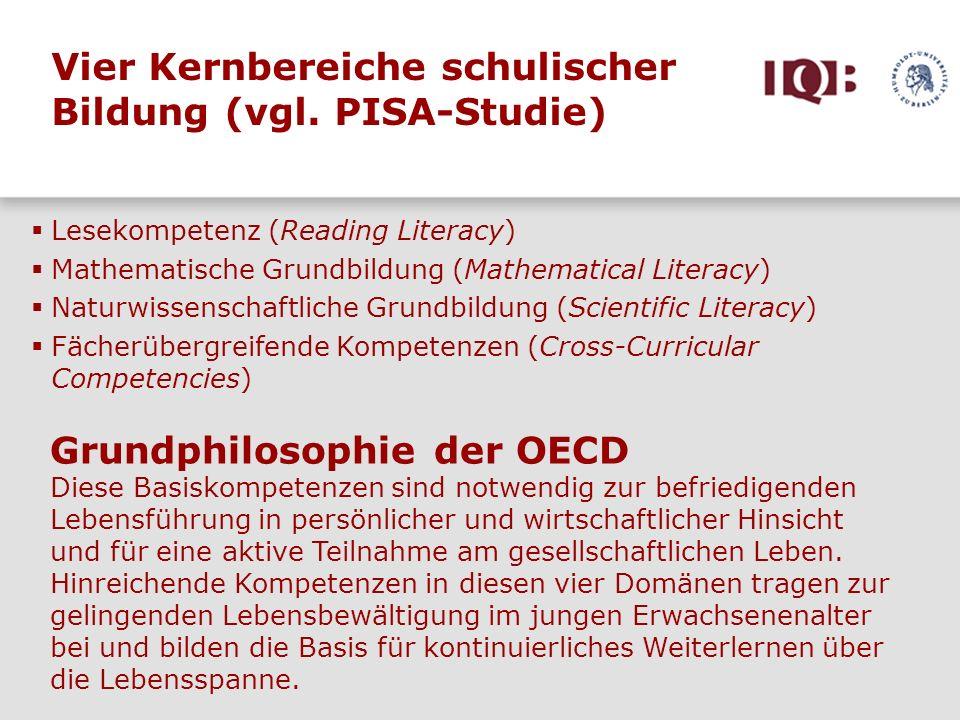 Vier Kernbereiche schulischer Bildung (vgl. PISA-Studie)