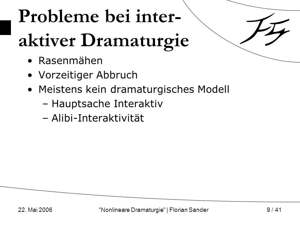 Probleme bei inter- aktiver Dramaturgie