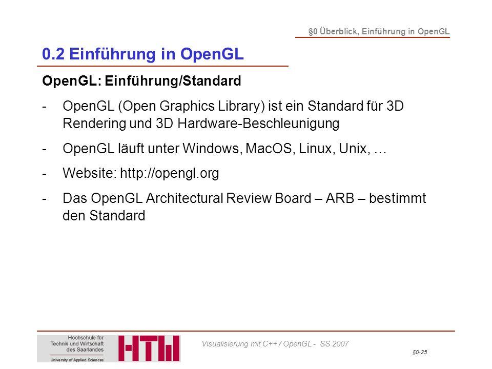 0.2 Einführung in OpenGL OpenGL: Einführung/Standard