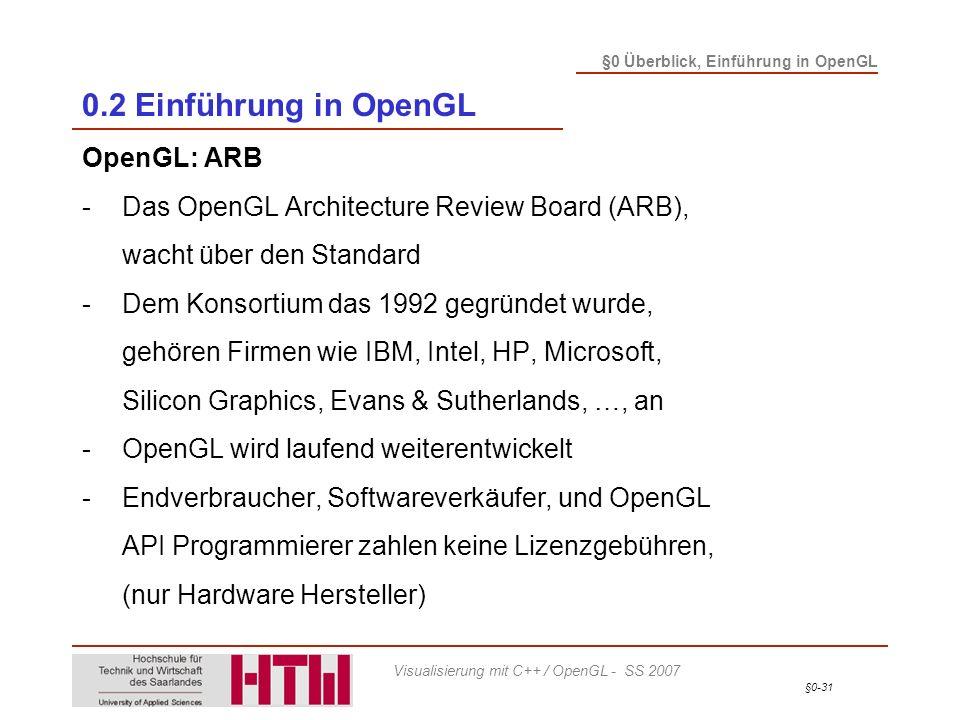 0.2 Einführung in OpenGL OpenGL: ARB