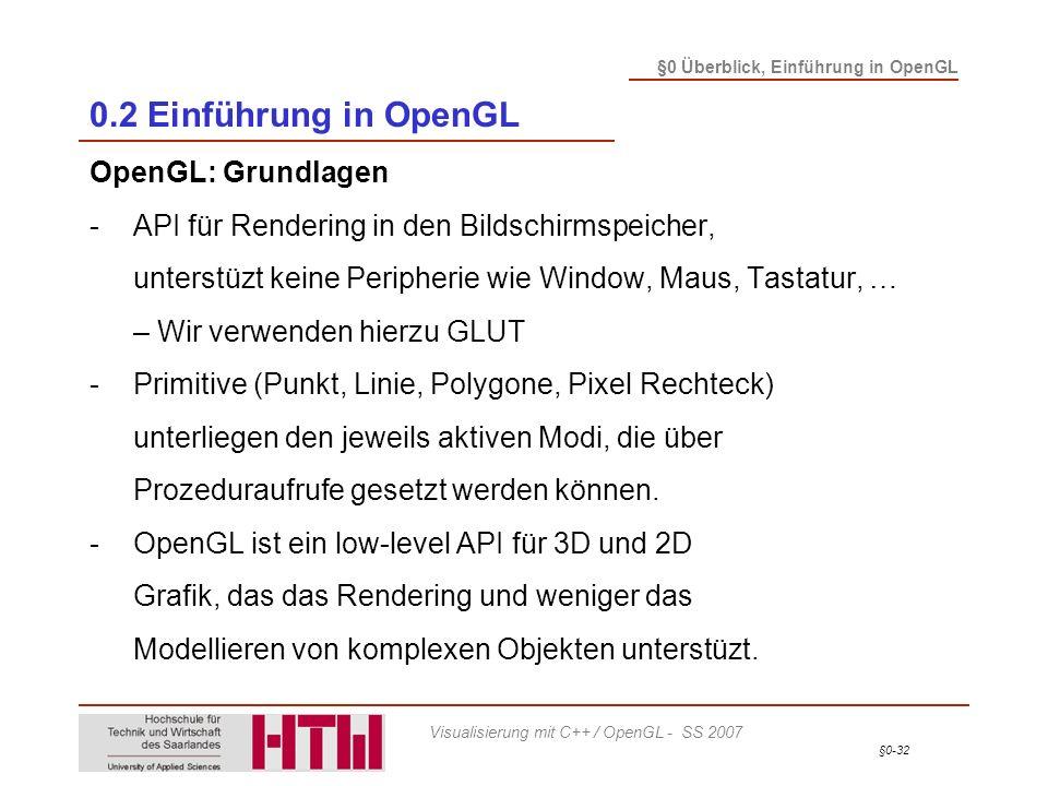 0.2 Einführung in OpenGL OpenGL: Grundlagen