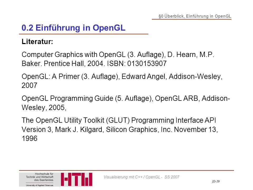 0.2 Einführung in OpenGL Literatur: