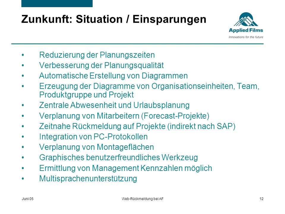 Zunkunft: Situation / Einsparungen