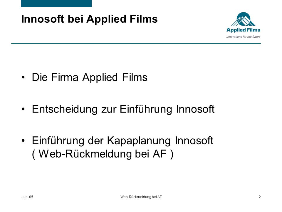 Innosoft bei Applied Films