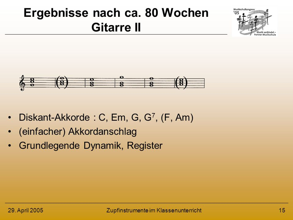 Ergebnisse nach ca. 80 Wochen Gitarre II