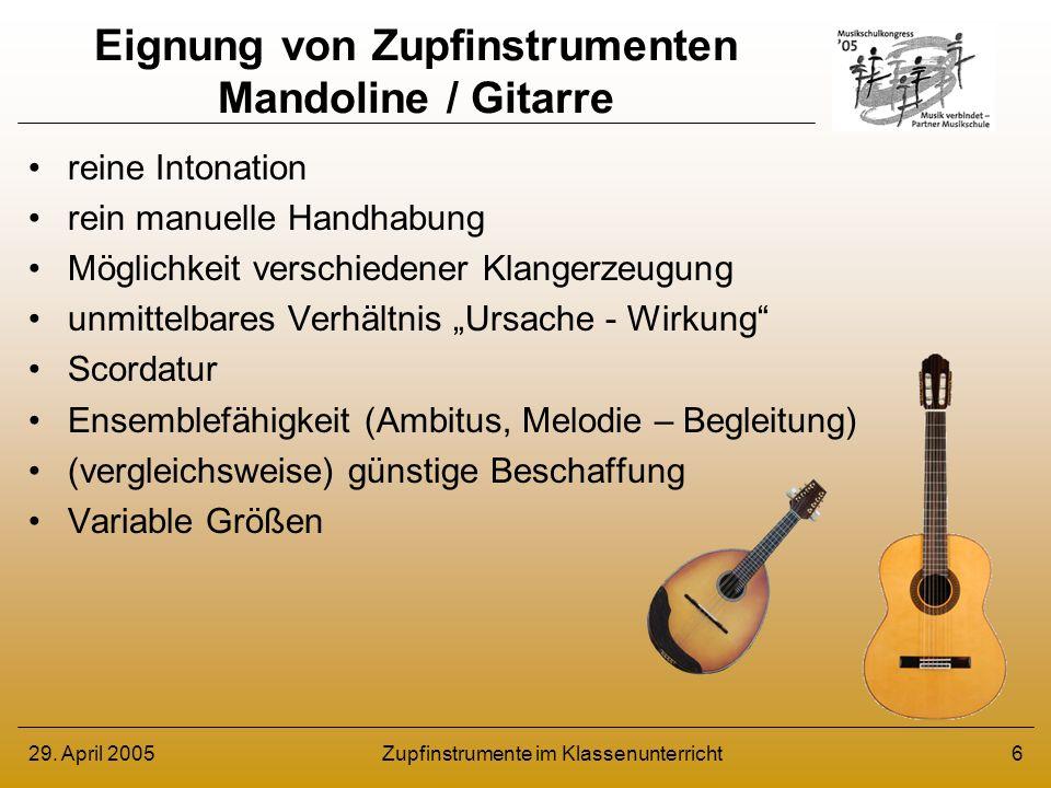 Eignung von Zupfinstrumenten Mandoline / Gitarre