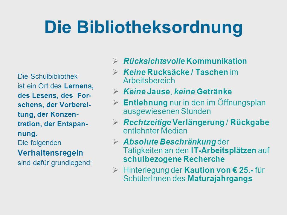 Die Bibliotheksordnung