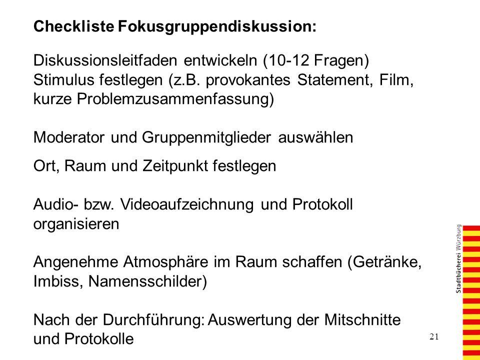 Checkliste Fokusgruppendiskussion: