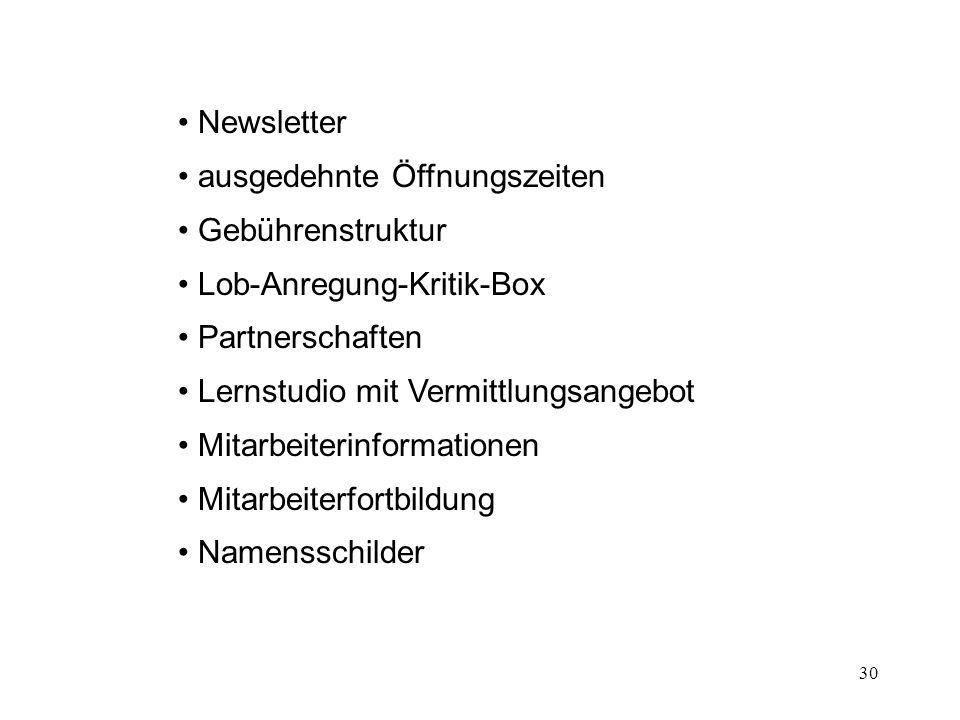 Newsletter ausgedehnte Öffnungszeiten. Gebührenstruktur. Lob-Anregung-Kritik-Box. Partnerschaften.