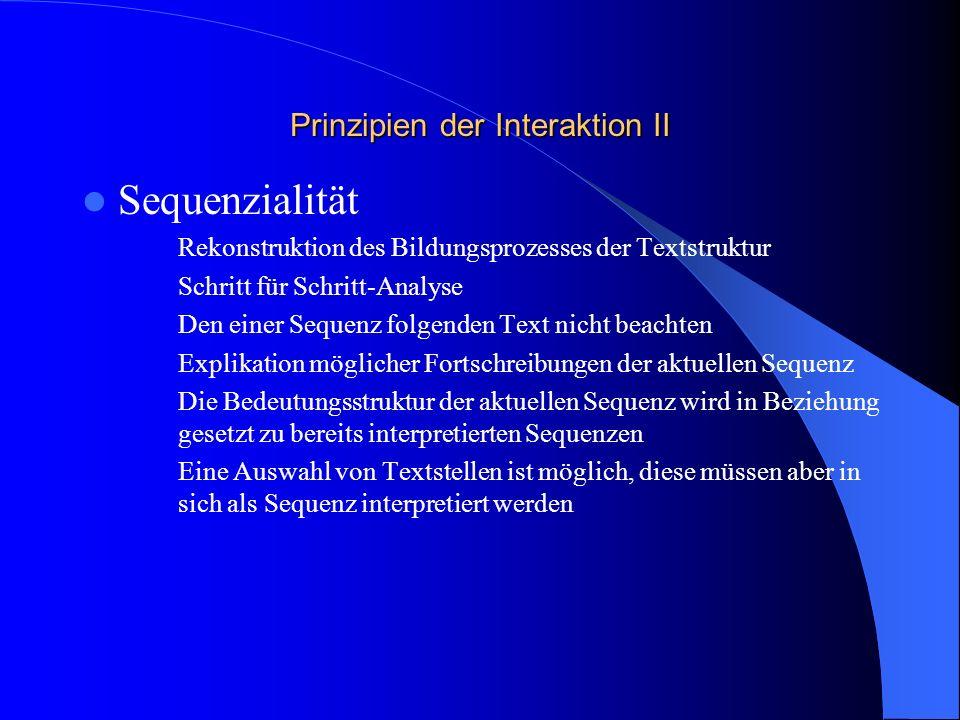 Prinzipien der Interaktion II