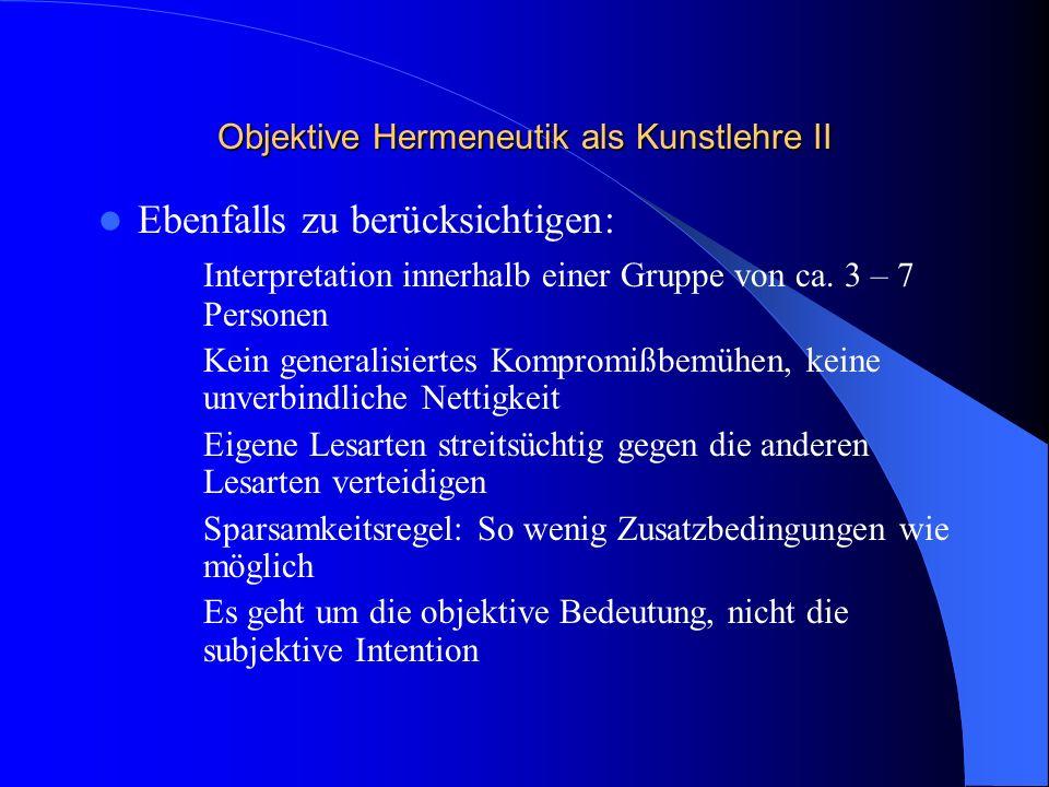 Objektive Hermeneutik als Kunstlehre II