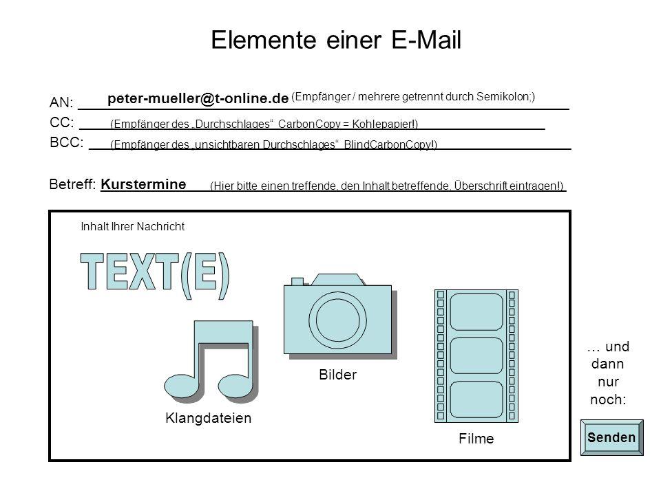 TEXT(E) Elemente einer E-Mail peter-mueller@t-online.de