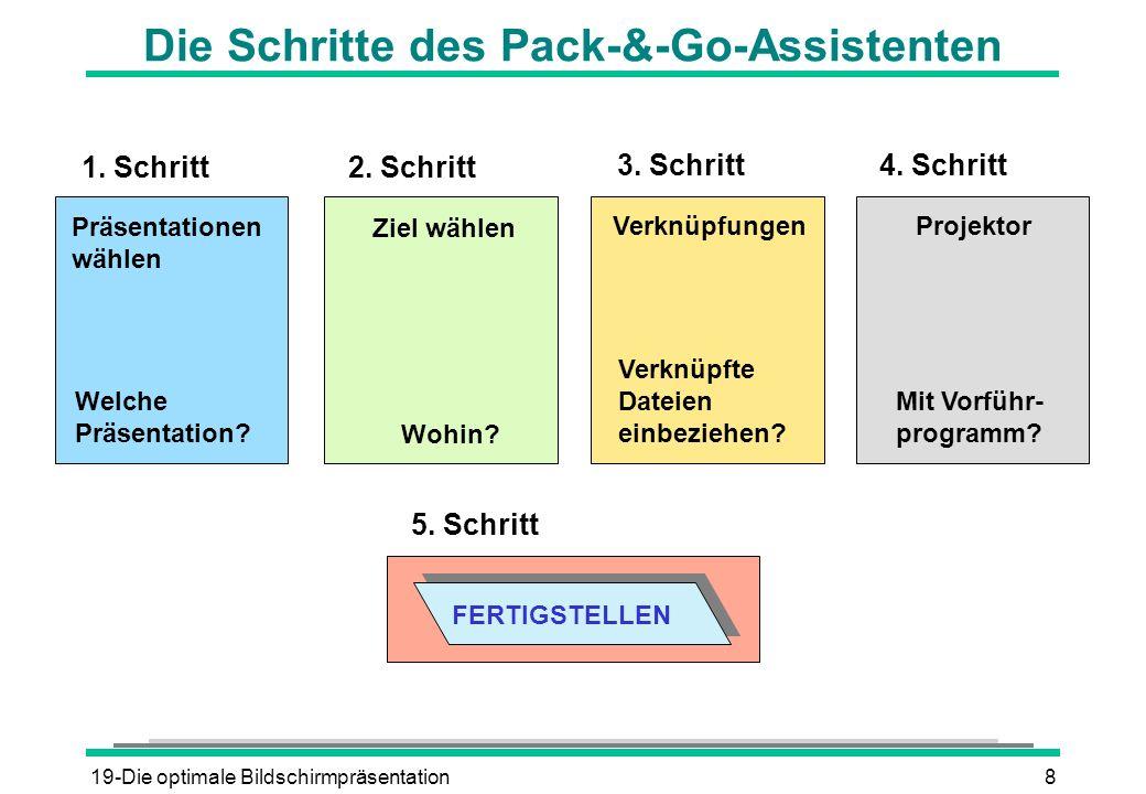 Die Schritte des Pack-&-Go-Assistenten