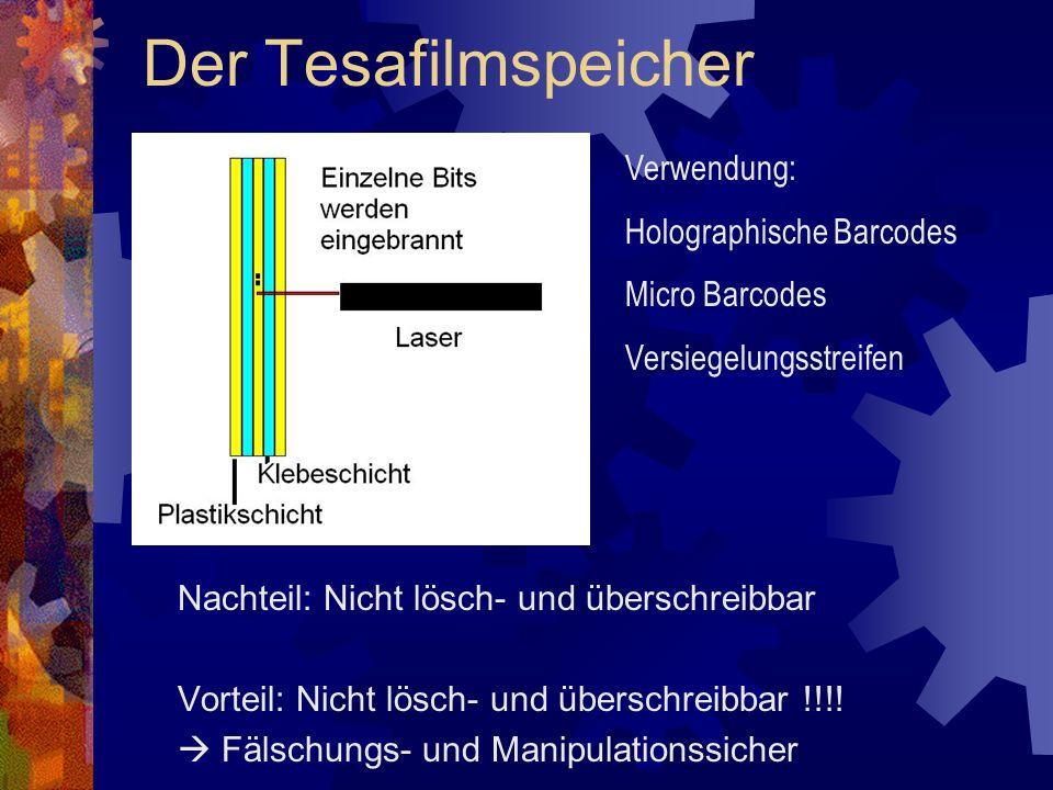 Der Tesafilmspeicher Verwendung: Holographische Barcodes