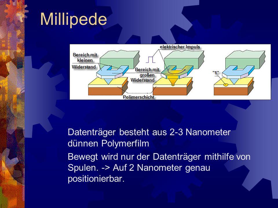Millipede Datenträger besteht aus 2-3 Nanometer dünnen Polymerfilm