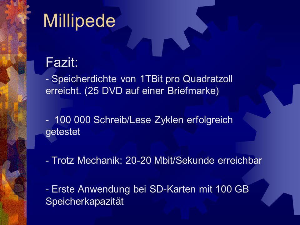 Millipede Fazit: - Speicherdichte von 1TBit pro Quadratzoll erreicht. (25 DVD auf einer Briefmarke)