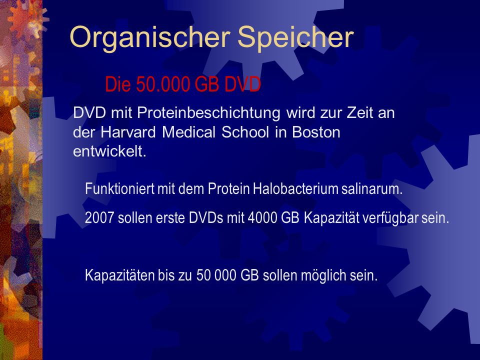 Organischer Speicher Die 50.000 GB DVD