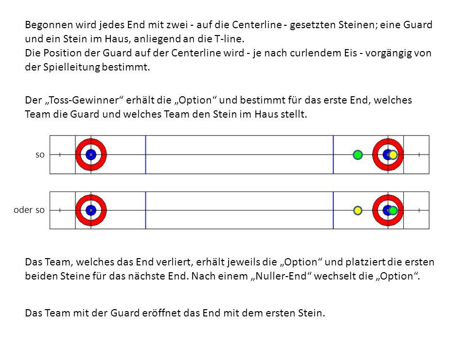 Das Team mit der Guard eröffnet das End mit dem ersten Stein.