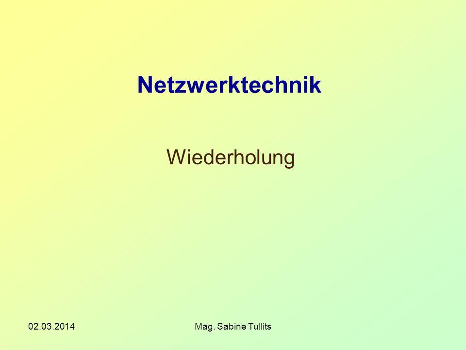 Netzwerktechnik Wiederholung 28.03.2017 Mag. Sabine Tullits
