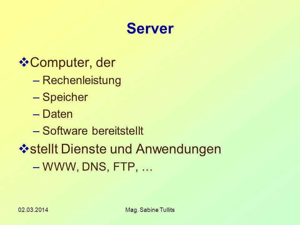 Server Computer, der stellt Dienste und Anwendungen Rechenleistung