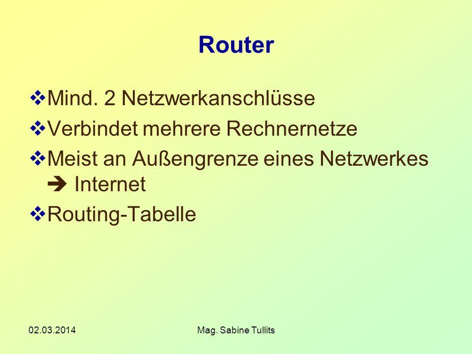Router Mind. 2 Netzwerkanschlüsse Verbindet mehrere Rechnernetze