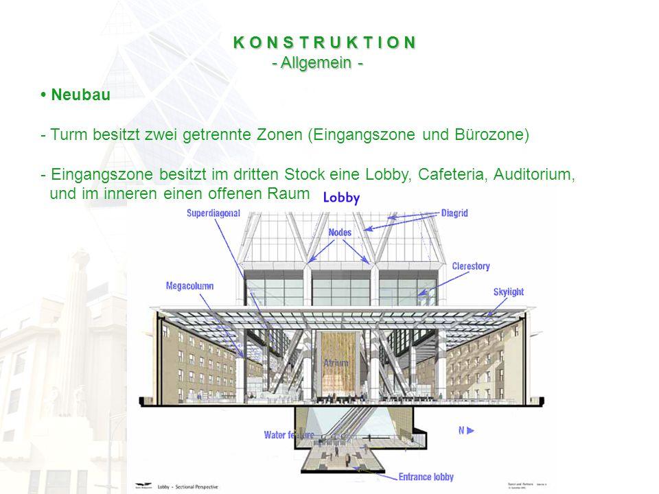 K O N S T R U K T I O N - Allgemein - • Neubau. Turm besitzt zwei getrennte Zonen (Eingangszone und Bürozone)