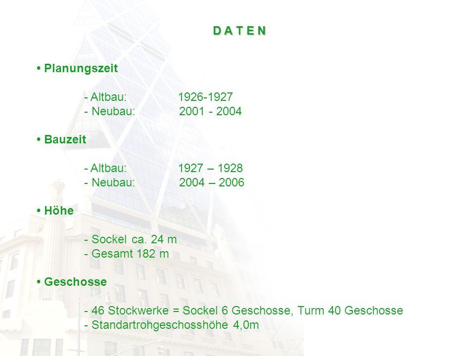 D A T E N • Planungszeit. - Altbau: 1926-1927. - Neubau: 2001 - 2004. • Bauzeit. - Altbau: 1927 – 1928.