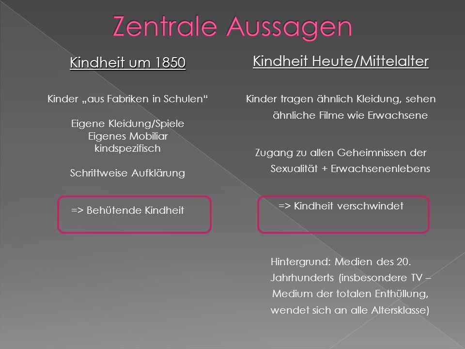 Zentrale Aussagen Kindheit Heute/Mittelalter Kindheit um 1850