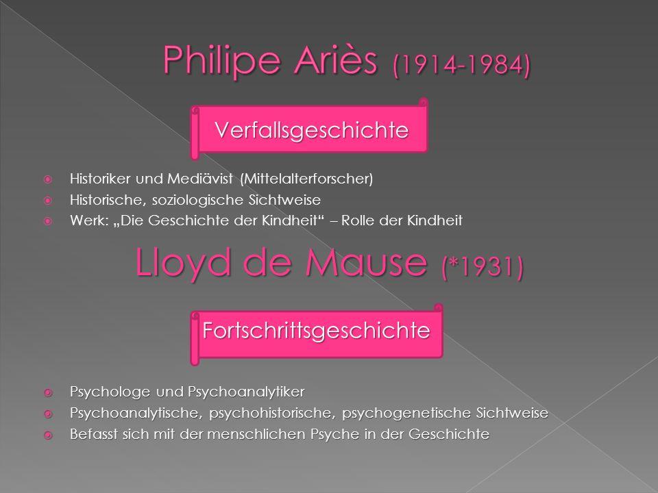 Philipe Ariès (1914-1984) Lloyd de Mause (*1931) Verfallsgeschichte
