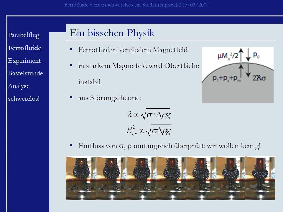 Ein bisschen Physik Ferrofluid in vertikalem Magnetfeld