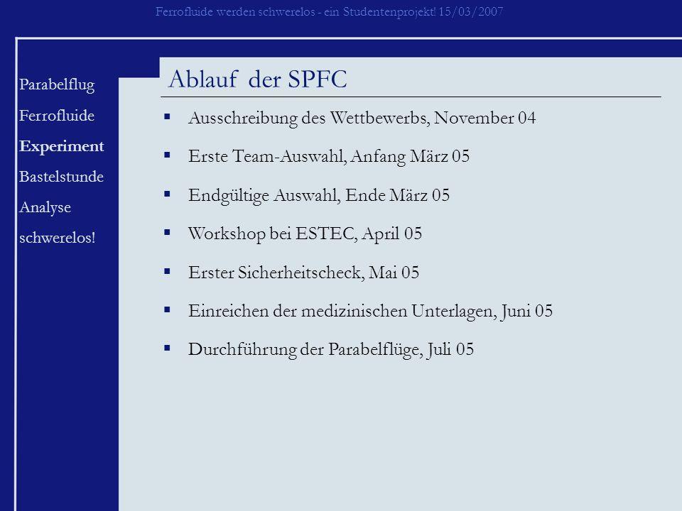 Ablauf der SPFC Ausschreibung des Wettbewerbs, November 04