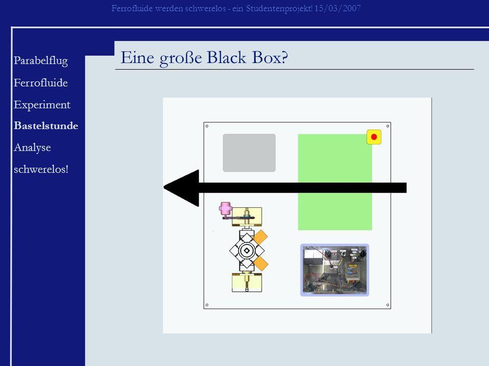 Eine große Black Box Parabelflug Ferrofluide Experiment Analyse