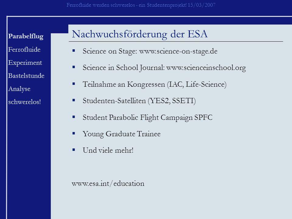 Nachwuchsförderung der ESA