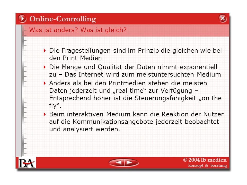 Online-Controlling Was ist anders Was ist gleich