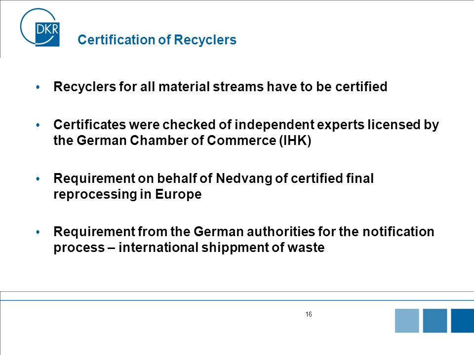 Certification of Recyclers