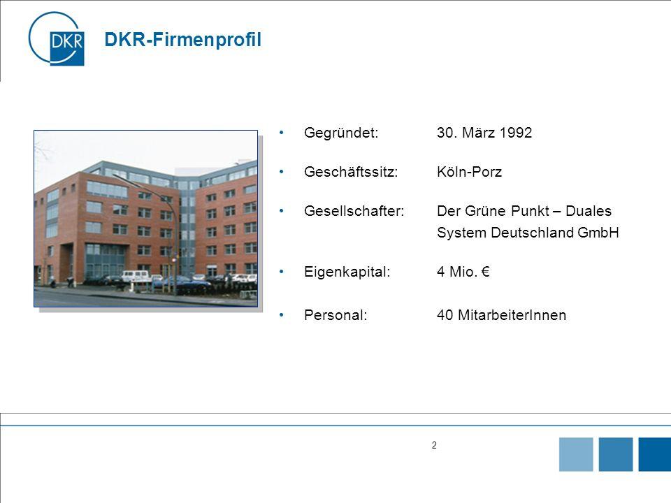 DKR-Firmenprofil Gegründet: 30. März 1992 Geschäftssitz: Köln-Porz