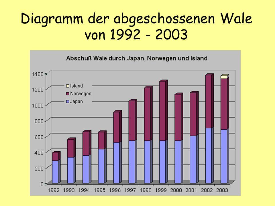 Diagramm der abgeschossenen Wale von 1992 - 2003