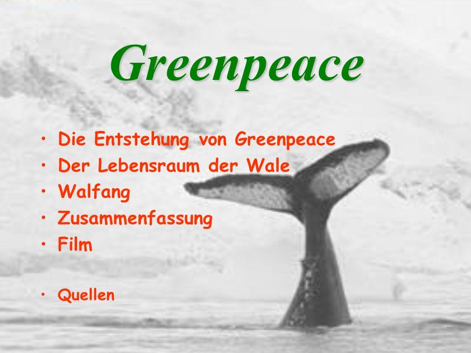 Greenpeace Die Entstehung von Greenpeace Der Lebensraum der Wale