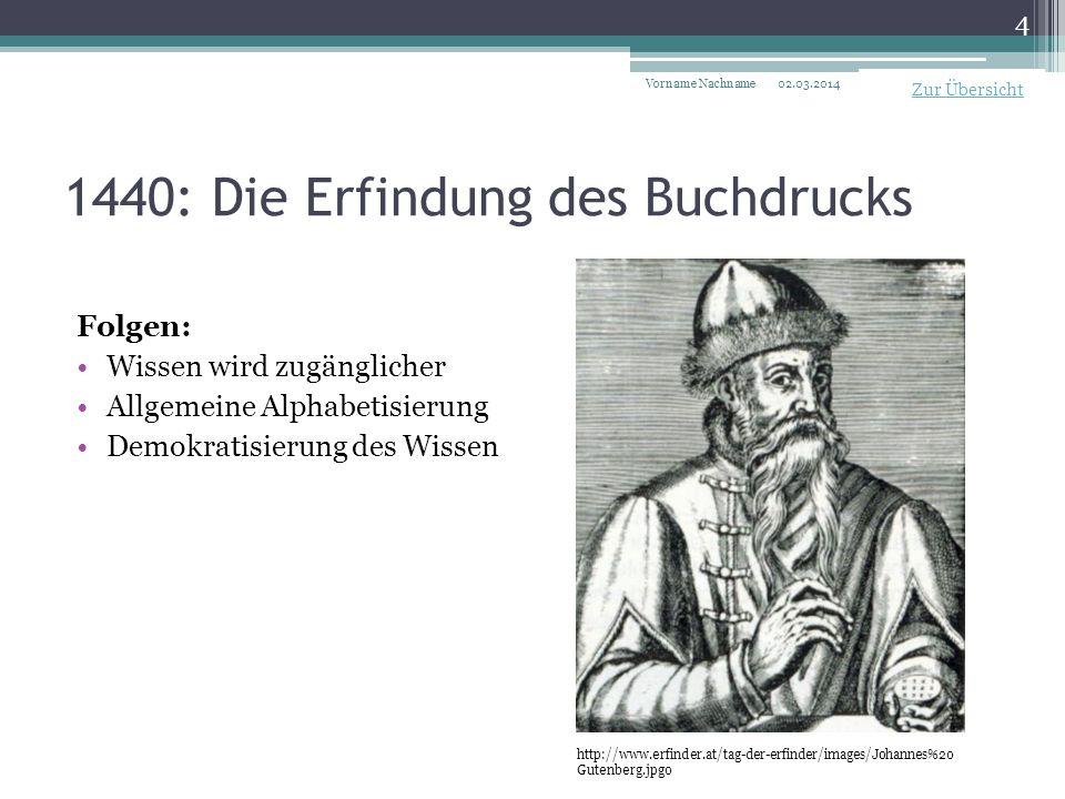 1440: Die Erfindung des Buchdrucks