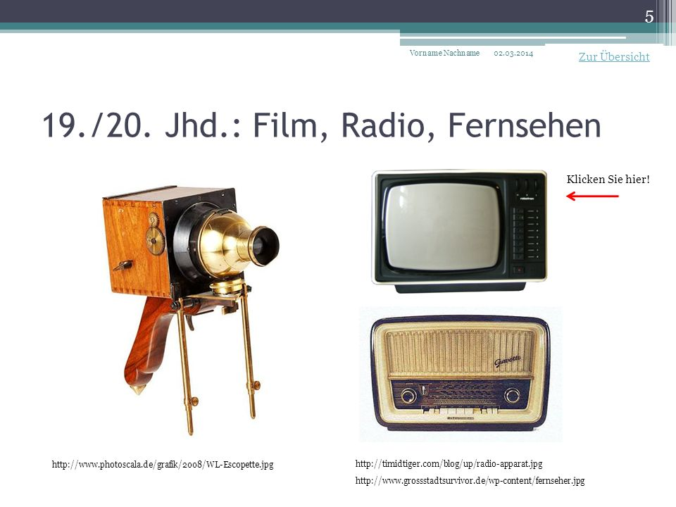 19./20. Jhd.: Film, Radio, Fernsehen