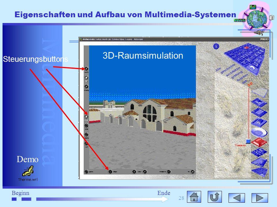 3D-Raumsimulation Steuerungsbuttons Demo